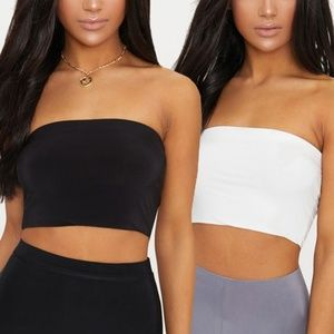 2  Black and White Bandeau Tops